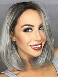 Fashion Synthetic Wigs Lace Front Wigs Bob Straight Black And Grey Heat Resistant Hair Wigs Women