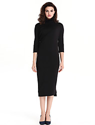 Women's Vintage Solid Plus Size / Sheath OL Dress , Stand Knee-length Cotton / Polyester Pencil skirt