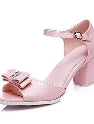Women's Shoes Chunky Heel Peep Toe Sandals Party & Evening / Dress Pink / White