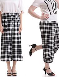Women's Check Black Wide Leg Pants,Casual / Day