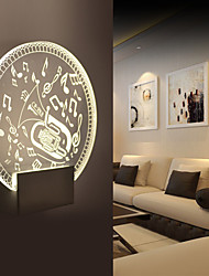 3D Effect Art Decor Saxophone Music Notes Patterns Mounted Wall Lamp 5W  Bedside Light Bedroom Clear Glass Sconce