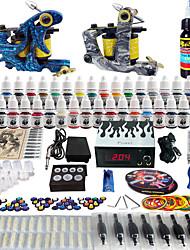 solong tattoo® komplette Tattoo-Set 2 pro Maschinen 40 Farben Stromversorgung Fußpedals Adeln Griffe Spitzen tk223