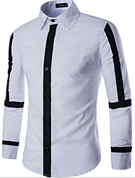 Men's Long Sleeve Shirt , Cotton Casual Print