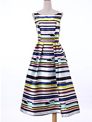 Women's Casual / Day Striped Sheath Dress , Round Neck Midi Polyester