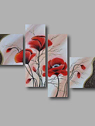 "Ready to Hang Stretched Hand-painted Oil Painting 64""x44"" Canvas Wall Art Modern Flowers Red Abstract"