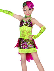 Latin Dance Outfits Children's Performance Lace / Feathers Tassel(s) 5 Pieces Sleeves / Dress / Neckwear / HeadpiecesDress length
