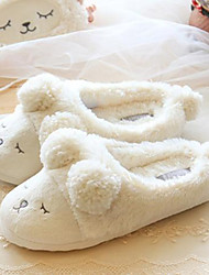 Women's Shoes Fleece Flat Heel Slippers Slippers Casual White / Gray
