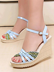 Women's Summer Wedges Leatherette Outdoor / Casual Wedge Heel Buckle Black / Blue / Green / Pink / White