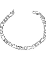Lureme® Silver Plated Geometry Link Chain Charm Bracelets for Women