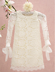 Lanting Bride ® Sheath / Column Knee-length Flower Girl Dress - Lace Long Sleeve Jewel with Lace