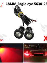 conduit aigle diurne des yeux la lumière de sauvegarde en cours d'exécution DRL brouillard voiture auto 12v rouge 18mm 9w x 2