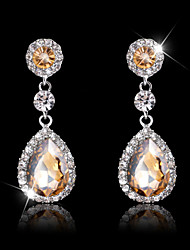 Lady's Multi-Stone Zircon Huggie Drop Earrings for Wedding Party Jewelry