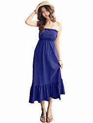 Women's Sexy / Cute Solid A Line Dress , Strapless Midi Modal