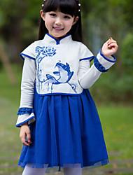 Girl's Blue Dress,Jacquard Polyester Summer / Fall