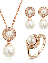HKTC Bridal Cz Crystal Jewelry White Imitation Pearl Waterdrop Necklace and Earrings and Ring Set