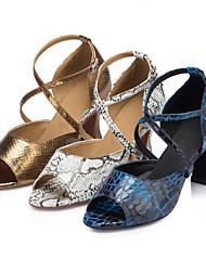 Customizable Women's Dance Shoes Latin / Ballroom / Salsa / Samba Leatherette Customized Heel Blue / White / Gold