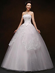A-line Wedding Dress Floor-length Strapless Lace / Satin with Bow / Lace / Pattern