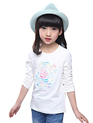 Girl's Cotton Spring / Fall Embroider Flower Bead Korean All-match Round Collar  T-Shirt