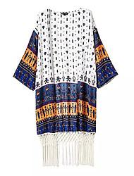 Women's Beach Vintage All Seasons Wrap,Print Asymmetrical Long Sleeve Multi-color Polyester Thin