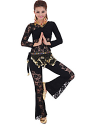 Belly Dance Outfits Women's Performance Mercerized Cotton / Lace Lace 3 Pieces Black / Fuchsia / Red / Yellow Belly Dance Long Sleeve