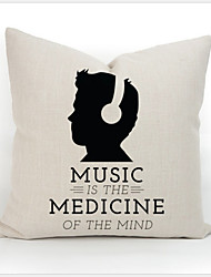 New Simple Fashion Cotton Linen Throw Pillow Cases Home Decor Decorative Cushion Pillowcase Cover Square Music Words