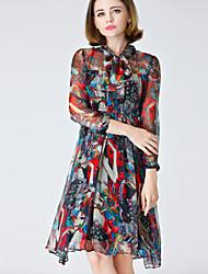 Women's Vintage Jacquard Swing Dress , Crew Neck Knee-length Polyester