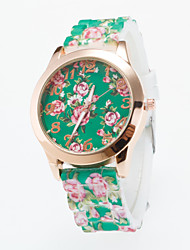 Hot Sale Newest Arrival Ladies Wristwatch Quartz Lava Silicone Band Women's Golden Case Flower Printing For Dial Fashion Unique Watches Strap Watch