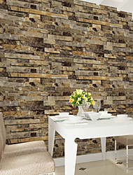 HaokHome®  Vintage Faux Stone Textured Wallpaper Yellow Multi 3D Brick Realistic Paper Room Decoration Wall Covering