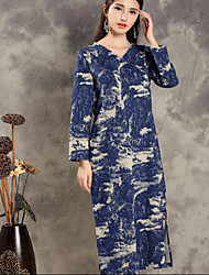 Women's Vintage Tunic Dress,Print V Neck Midi Long Sleeve Blue Cotton / Linen Spring