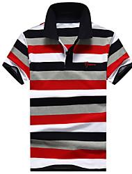 Masculino Polo Outro Diário Casual Esportes Simples Activo Verão,Listrado 100% algodão Colarinho de Camisa Manga Curta Média