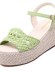 Women's Shoes Leatherette Wedge Heel  Open Toe Sandals Dress Green / White