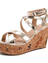 Women's Shoes    Wedge Heel Wedges / Open Toe Sandals Outdoor / Casual Black / Gold