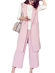 Two-piece New Arrival Women's Solid Pink / Gray Loose / Wide Leg Pants , Casual / Day / Street chic