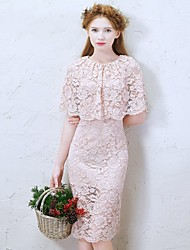 Knee-length Lace Bridesmaid Dress-Champagne Sheath/Column Jewel