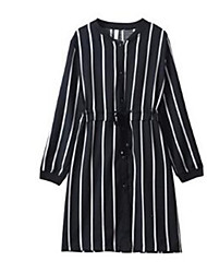 Women's Casual/Daily Simple Shirt Dress,Striped Shirt Collar Above Knee Long Sleeve Black Polyester Spring
