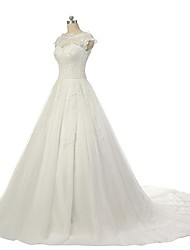 A-line Wedding Dress Court Train Jewel Lace / Tulle with Appliques / Lace