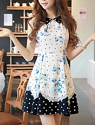 Women's Vintage Floral Sheath / Swing Dress,Shirt Collar Above Knee Polyester / Spandex