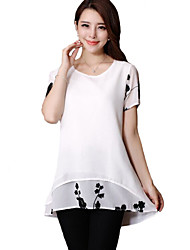 Women's Casual/Daily Simple Summer Blouse,Print Round Neck Short Sleeve White / Black Polyester Thin