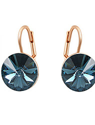 HKTC Concise 18k Rose Gold Plated Ladies Jewelry Dazzing Dark Blue Cubic Zirconia Pierced Clip Earrings