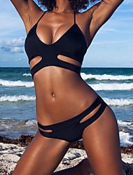 Women's Bandeau Bikinis,Solid Padded Bras Nylon / Spandex Black