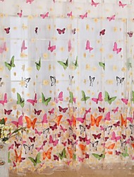 W100cm*L200cm,Little Butterfly One Panel Rod pocket Country Living Room Polyester Sheer Curtains Shades