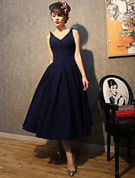 A-Line Princess Fit & Flare Spaghetti Straps Tea Length Polyester Satin Taffeta Cocktail Party Prom Dress with Bow(s) by QZ