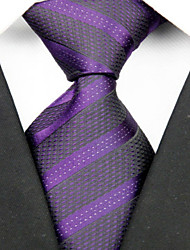 Галстук(Черный / Фиолетовый,Полиэстер)В полоску