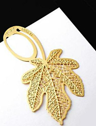 5PCS Creative Maple Leaf Design 18K Gold Plated Clovers Cute Bookmarks Delicate Gift Book Mark(Style random)