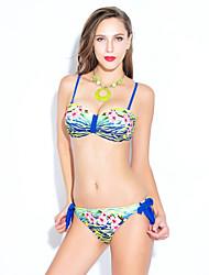 Women's Bandeau Bikinis,Floral Padded Bras Spandex / Modal Blue
