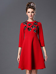 Plus Size Women Dress 2016 Spring Bead Vintage Fashion Elegant Slim 3/4 Sleeve Dress Green/Red