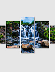 Canvas Print Art Abstract Painting Set Of 5 Waterfall Pictures Painting On The Wall Home Decor