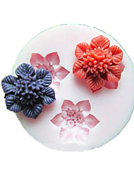 Three Cell Flower Silicone Mold Fondant Molds Sugar Craft Tools Resin flowers Mould Molds For Cakes