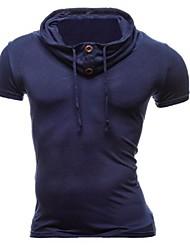 Men's Short Sleeve Hoodie & Sweatshirt,Cotton Solid