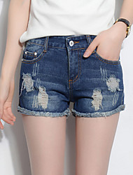 Women's Solid Blue Jeans / Shorts Pants,Casual / Simple Hole Tassel Low-waist Fashion Slim Thin Elastic Cotton